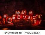 Glowing Jacko Lanterns Carved...