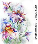 bouquet of beautiful  fantastic ... | Shutterstock . vector #740235685