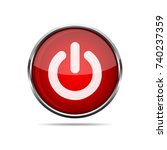3d power round button on white... | Shutterstock .eps vector #740237359