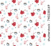seamless pattern with cute... | Shutterstock .eps vector #740238169