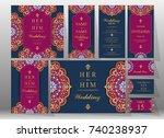 wedding invitation card... | Shutterstock .eps vector #740238937