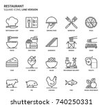 restaurant  square icon set.... | Shutterstock .eps vector #740250331