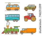tram electric agricultural... | Shutterstock .eps vector #740251399