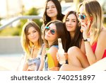 friends have fun together and... | Shutterstock . vector #740251897