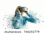 a person in virtual glasses... | Shutterstock . vector #740252779
