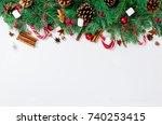 christmas decorative background ... | Shutterstock . vector #740253415