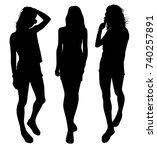 set of girl silhouettes | Shutterstock .eps vector #740257891