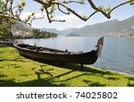 Park of Villa Melzi in Bellagio at the famous Italian lake Como - stock photo