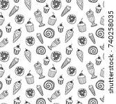 desserts seamless pattern | Shutterstock .eps vector #740258035