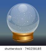 snow globe vector illustration. ... | Shutterstock .eps vector #740258185