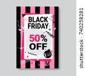 black friday sale banner with... | Shutterstock .eps vector #740258281