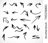 hand drawn arrows  vector set | Shutterstock .eps vector #740258881