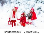 children with christmas tree on ... | Shutterstock . vector #740259817