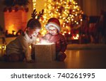merry christmas happy children... | Shutterstock . vector #740261995