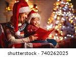 christmas eve. family mother... | Shutterstock . vector #740262025