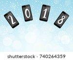 happy new year 2018 vector... | Shutterstock .eps vector #740264359
