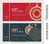 christmas gift certificate.... | Shutterstock .eps vector #740265631
