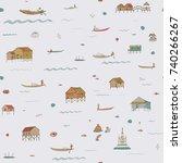 travel inle lake myanmar burma...   Shutterstock .eps vector #740266267