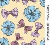 pattern with hand drawn ribbons.... | Shutterstock .eps vector #740266351