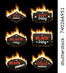 set of six hot black friday... | Shutterstock .eps vector #740266951