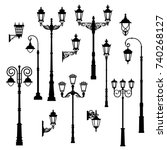 set of vintage streetlights. ... | Shutterstock .eps vector #740268127
