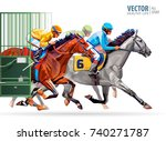 Stock vector three racing horses competing with each other with motion blur to accent speed start gates for 740271787