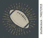 football  rugby ball vintage... | Shutterstock .eps vector #740272915