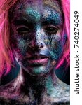 scarry portrait of beautiful... | Shutterstock . vector #740274049