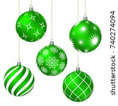 Green Christmas Balls With...