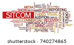 word cloud related to tv... | Shutterstock .eps vector #740274865