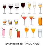 set of different drinks and...   Shutterstock .eps vector #74027701
