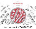 grilled meat and vegetables top ... | Shutterstock .eps vector #740280385