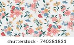 seamless floral pattern in... | Shutterstock .eps vector #740281831