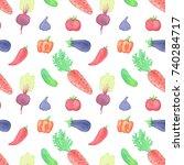 watercolor vegetable seamless... | Shutterstock . vector #740284717