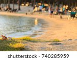 seaside near a resort in a... | Shutterstock . vector #740285959