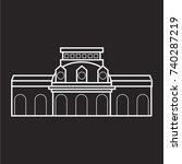 sanssouci palace icon flat black | Shutterstock .eps vector #740287219