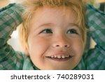 interesting boy face of... | Shutterstock . vector #740289031