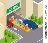 isometric parking payment... | Shutterstock .eps vector #740294251