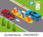 isometric parking payment... | Shutterstock .eps vector #740294257