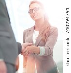 business partners shaking hands ... | Shutterstock . vector #740294791