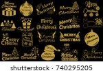 merry christmas. typography set.... | Shutterstock .eps vector #740295205