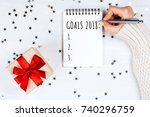 holiday decorations and... | Shutterstock . vector #740296759