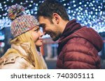 closeup image of a young couple ... | Shutterstock . vector #740305111