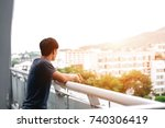 lonely men are looking city... | Shutterstock . vector #740306419