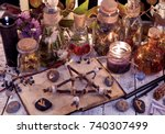 wooden pentagram  open book ... | Shutterstock . vector #740307499