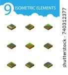 isometric road set of bitumen ... | Shutterstock .eps vector #740312377