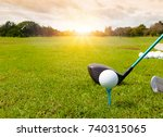 golf ball on tee ready to be... | Shutterstock . vector #740315065