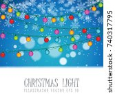 christmas light bulb on snow... | Shutterstock .eps vector #740317795