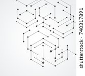 vector hexagons connection and...   Shutterstock .eps vector #740317891
