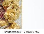 stucco golden flowers... | Shutterstock . vector #740319757